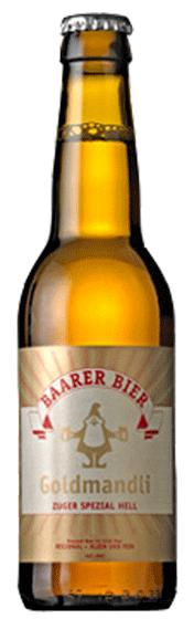 Bier Flasche Goldmandli der Brauerei Baarer Bier